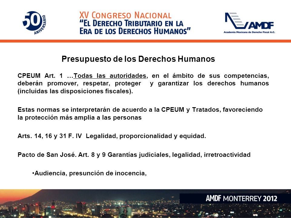 Presupuesto de los Derechos Humanos CPEUM Art.