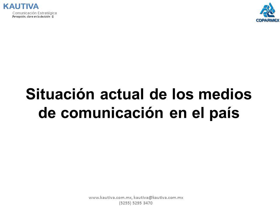 Situación actual de los medios de comunicación en el país KAUTIVA Comunicación Estratégica Percepción, clave en la decisión © www.kautiva.com.mx, kaut