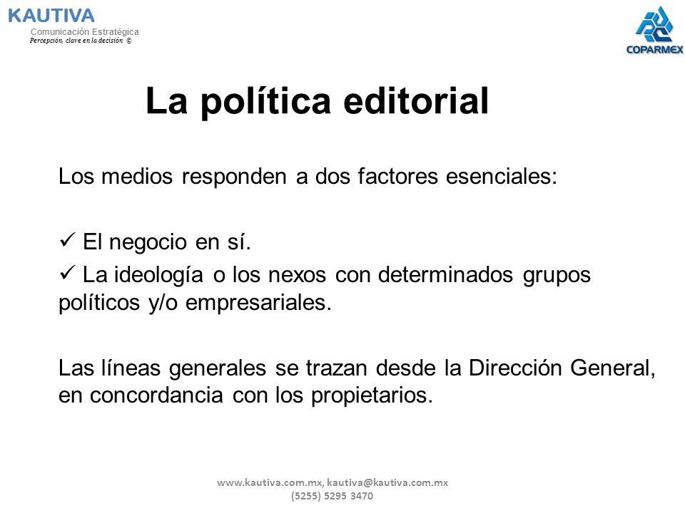La política editorial Los medios responden a dos factores esenciales: El negocio en sí. La ideología o los nexos con determinados grupos políticos y/o