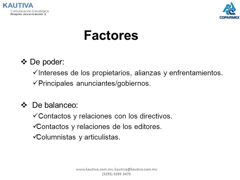 Factores De poder: Intereses de los propietarios, alianzas y enfrentamientos. Principales anunciantes/gobiernos. De balanceo: Contactos y relaciones c