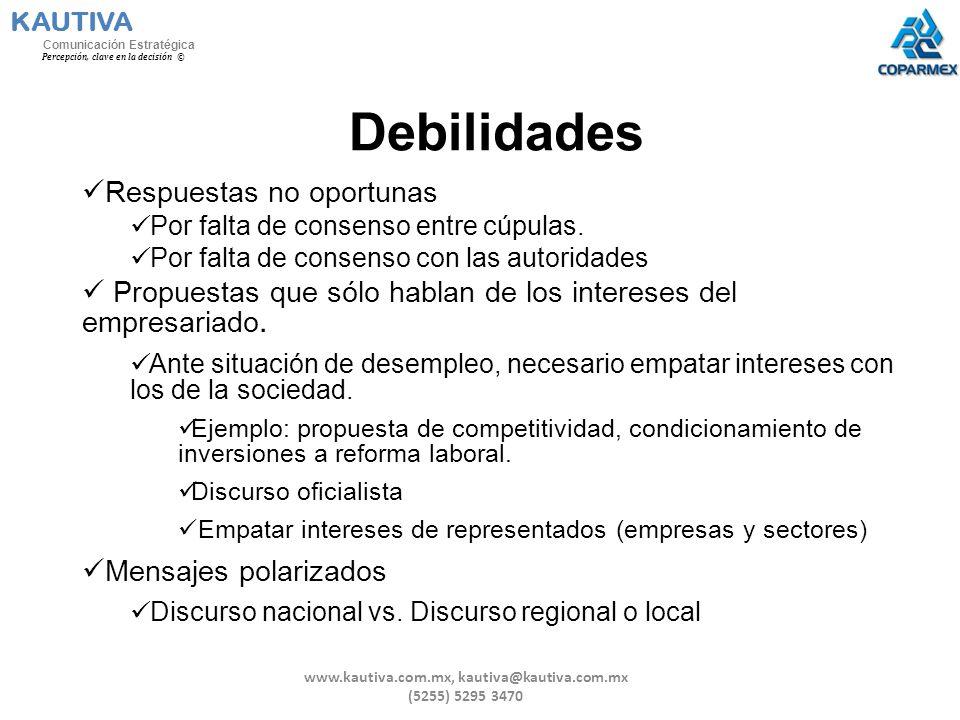 Debilidades Respuestas no oportunas Por falta de consenso entre cúpulas. Por falta de consenso con las autoridades Propuestas que sólo hablan de los i