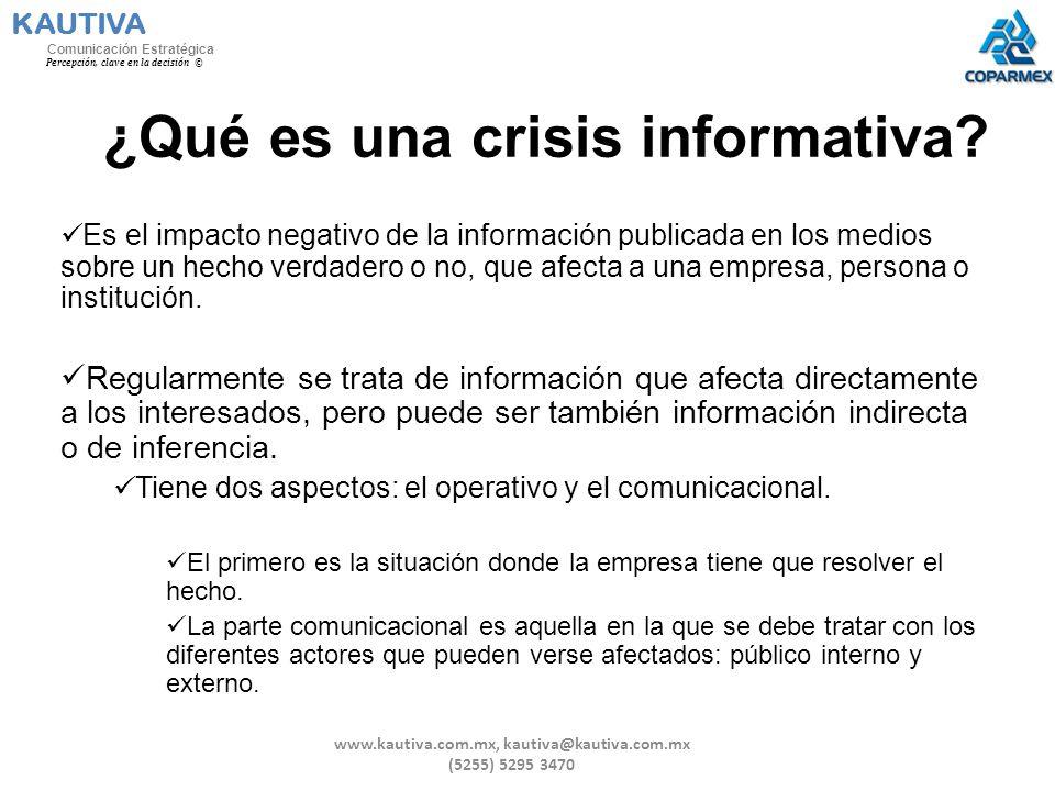 ¿Qué es una crisis informativa? Es el impacto negativo de la información publicada en los medios sobre un hecho verdadero o no, que afecta a una empre