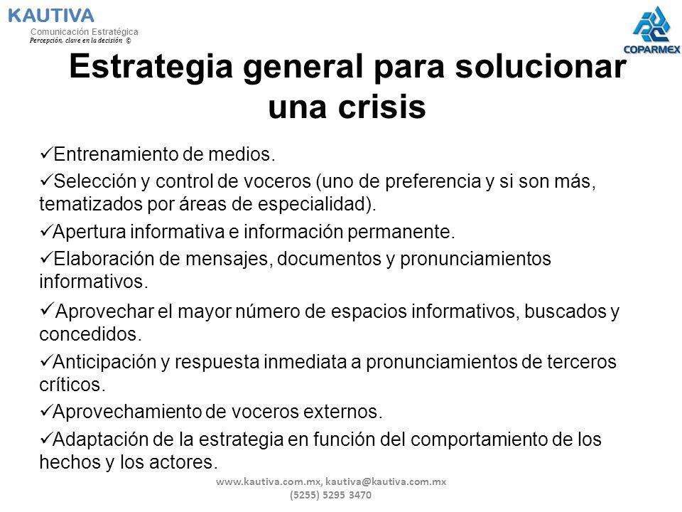 Estrategia general para solucionar una crisis Entrenamiento de medios. Selección y control de voceros (uno de preferencia y si son más, tematizados po