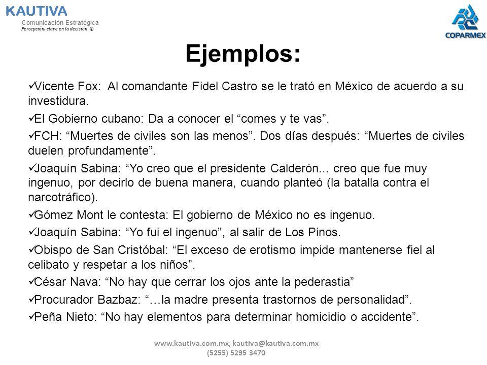 Ejemplos: Vicente Fox: Al comandante Fidel Castro se le trató en México de acuerdo a su investidura. El Gobierno cubano: Da a conocer el comes y te va