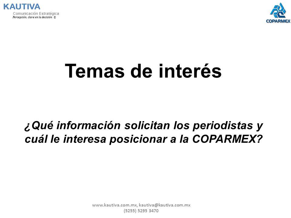 Temas de interés ¿Qué información solicitan los periodistas y cuál le interesa posicionar a la COPARMEX? KAUTIVA Comunicación Estratégica Percepción,