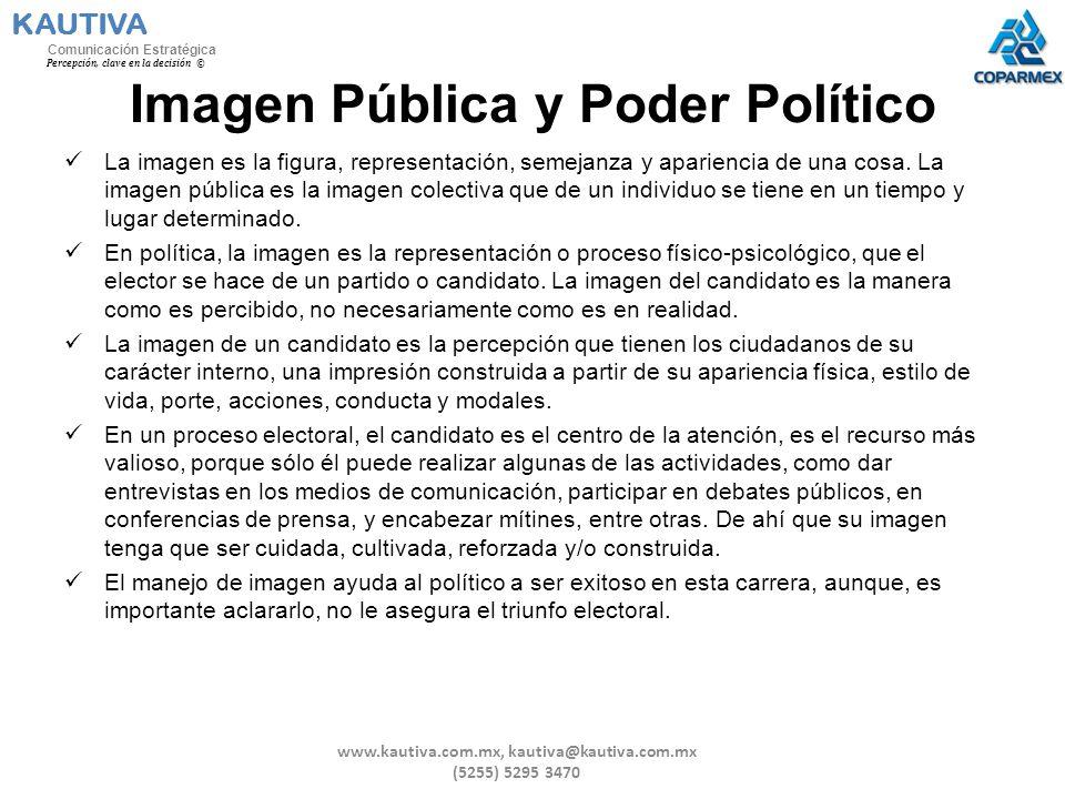 Imagen Pública y Poder Político La imagen es la figura, representación, semejanza y apariencia de una cosa. La imagen pública es la imagen colectiva q