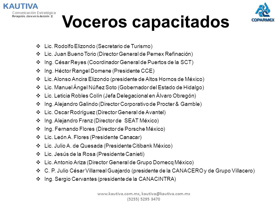 Voceros capacitados Lic. Rodolfo Elizondo (Secretario de Turismo) Lic. Juan Bueno Torio (Director General de Pemex Refinación) Ing. César Reyes (Coord