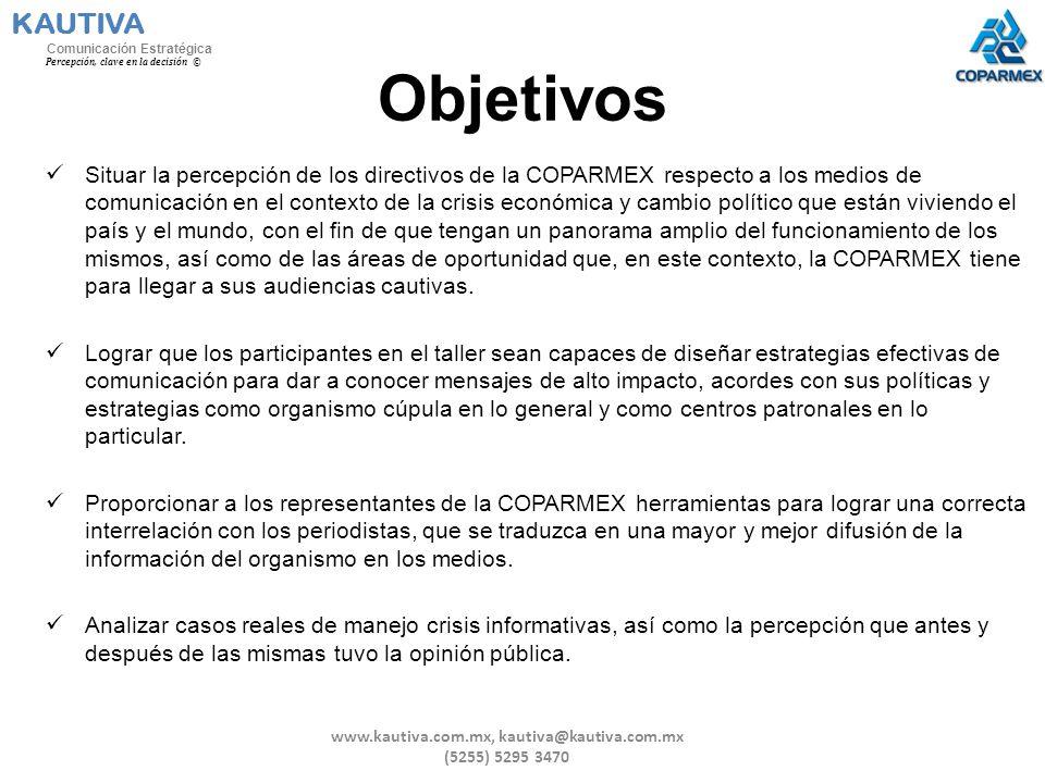 Objetivos Situar la percepción de los directivos de la COPARMEX respecto a los medios de comunicación en el contexto de la crisis económica y cambio p