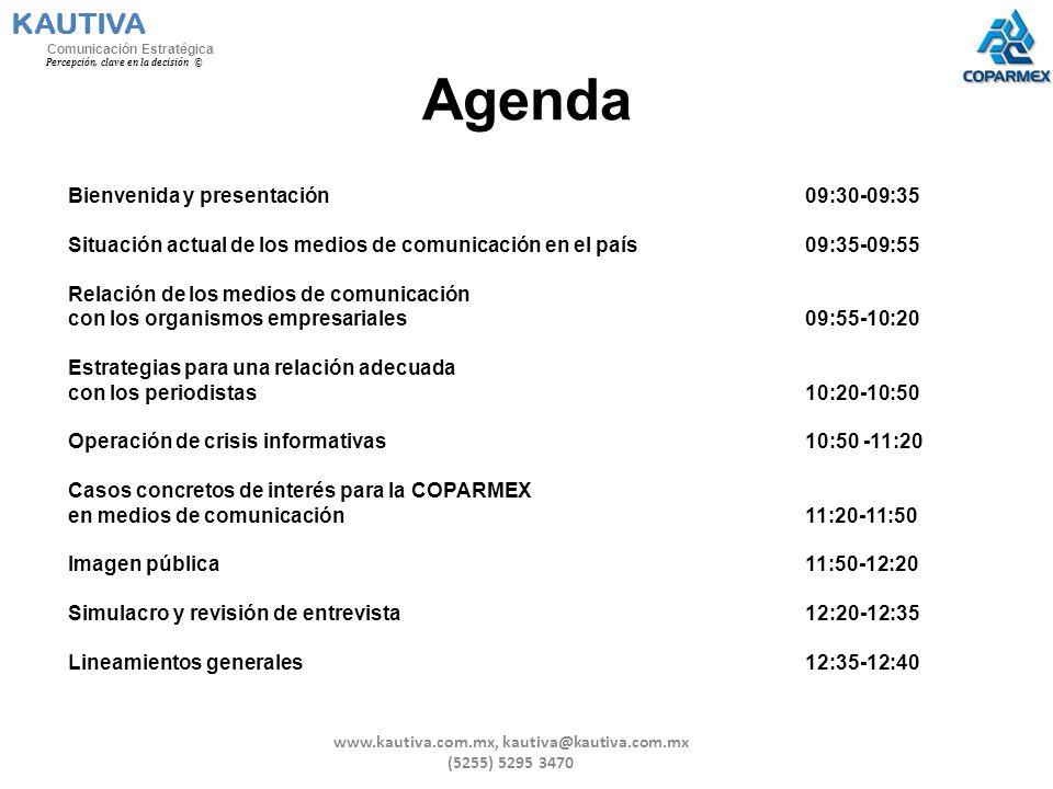 Agenda Bienvenida y presentación 09:30-09:35 Situación actual de los medios de comunicación en el país09:35-09:55 Relación de los medios de comunicaci