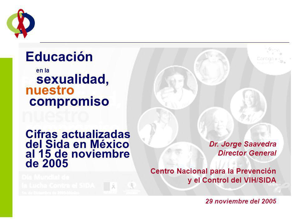 Educación en la sexualidad, nuestro compromiso Cifras actualizadas del Sida en México al 15 de noviembre de 2005 Dr. Jorge Saavedra Director General C