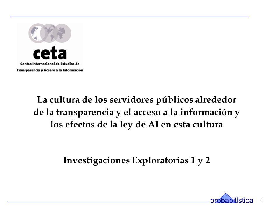 1 La cultura de los servidores públicos alrededor de la transparencia y el acceso a la información y los efectos de la ley de AI en esta cultura Investigaciones Exploratorias 1 y 2