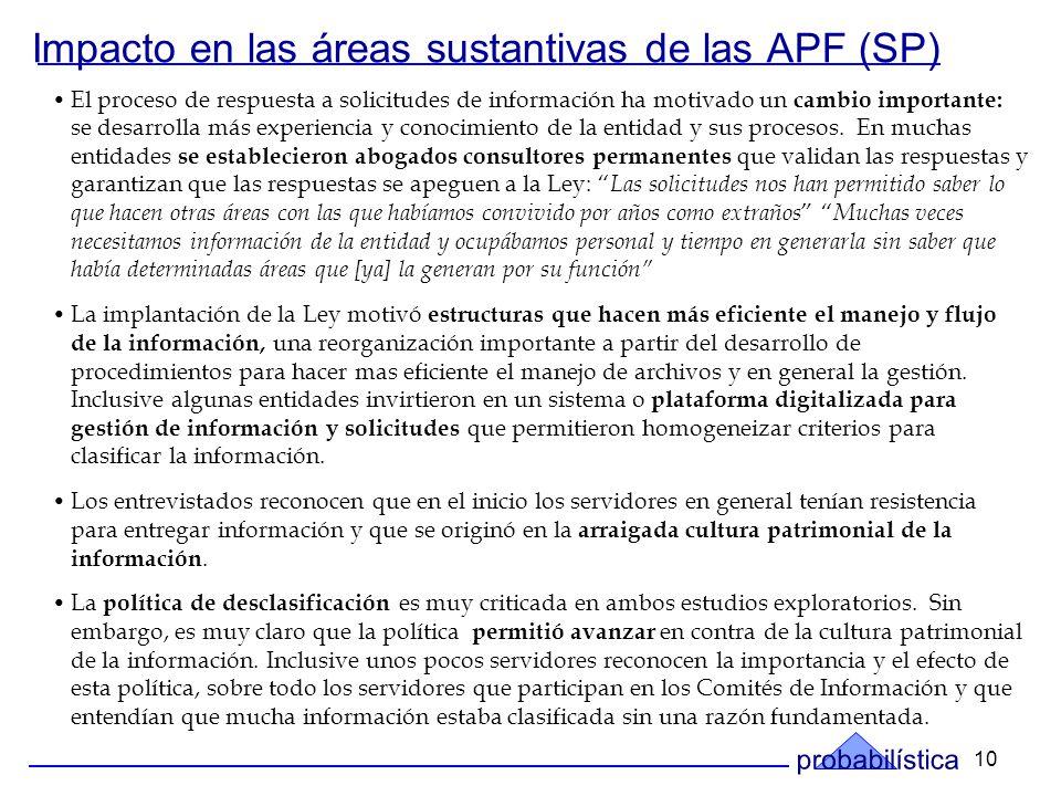 10 Impacto en las áreas sustantivas de las APF (SP) El proceso de respuesta a solicitudes de información ha motivado un cambio importante: se desarrolla más experiencia y conocimiento de la entidad y sus procesos.