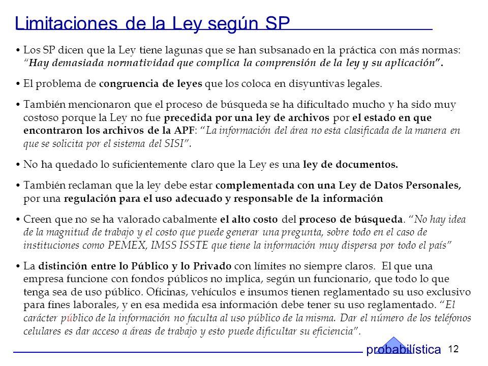 12 Los SP dicen que la Ley tiene lagunas que se han subsanado en la práctica con más normas: Hay demasiada normatividad que complica la comprensión de la ley y su aplicación.