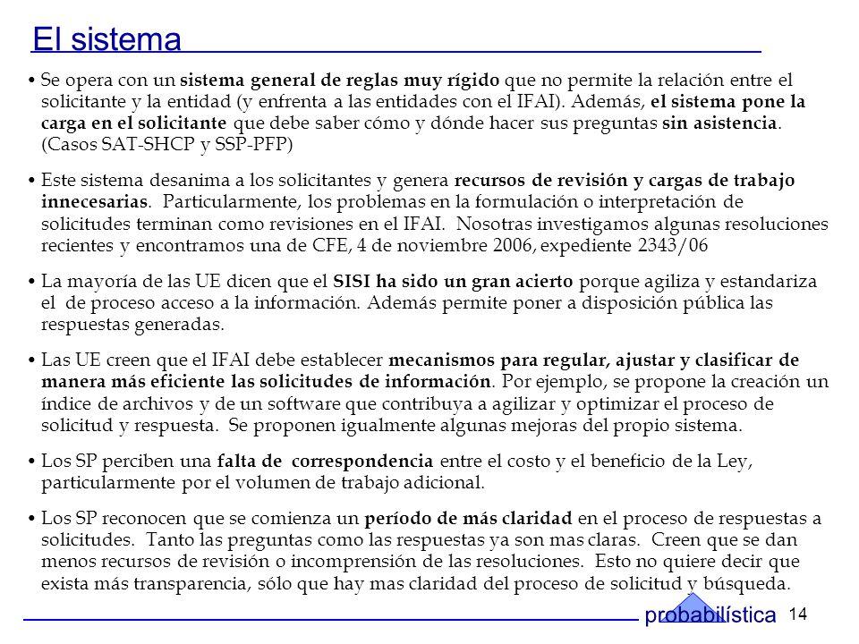 14 El sistema Se opera con un sistema general de reglas muy rígido que no permite la relación entre el solicitante y la entidad (y enfrenta a las entidades con el IFAI).