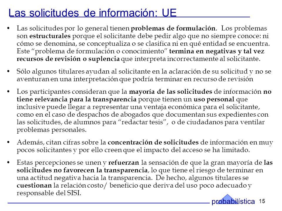 15 Las solicitudes de información: UE Las solicitudes por lo general tienen problemas de formulación.