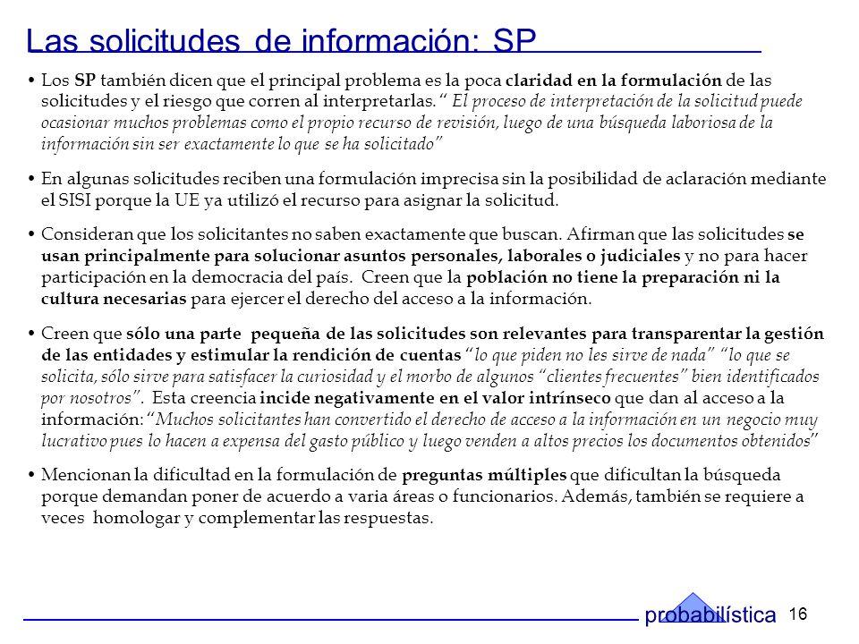 16 Los SP también dicen que el principal problema es la poca claridad en la formulación de las solicitudes y el riesgo que corren al interpretarlas.