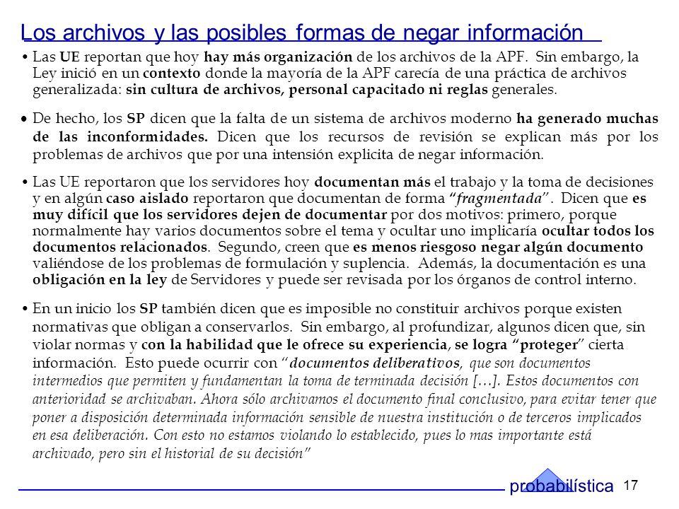 17 Los archivos y las posibles formas de negar información Las UE reportan que hoy hay más organización de los archivos de la APF.