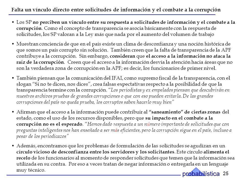 25 Falta un vínculo directo entre solicitudes de información y el combate a la corrupción Los SP no perciben un vínculo entre su respuesta a solicitudes de información y el combate a la corrupción.
