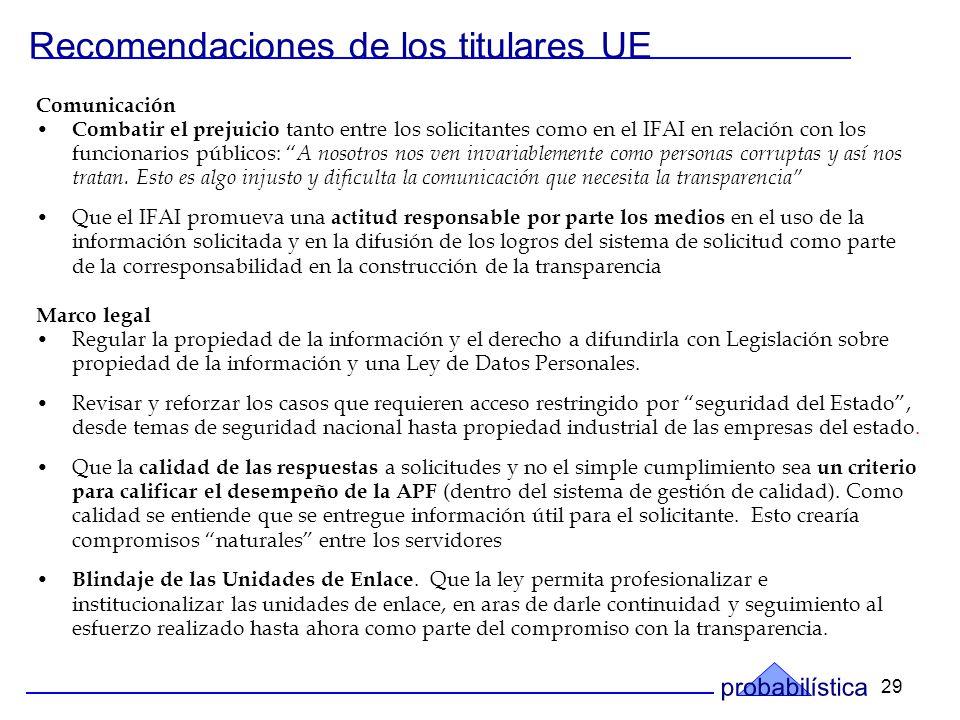 29 Recomendaciones de los titulares UE Comunicación Combatir el prejuicio tanto entre los solicitantes como en el IFAI en relación con los funcionarios públicos: A nosotros nos ven invariablemente como personas corruptas y así nos tratan.