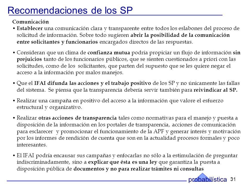 31 Recomendaciones de los SP Comunicación Establecer una comunicación clara y transparente entre todos los eslabones del proceso de solicitud de información.