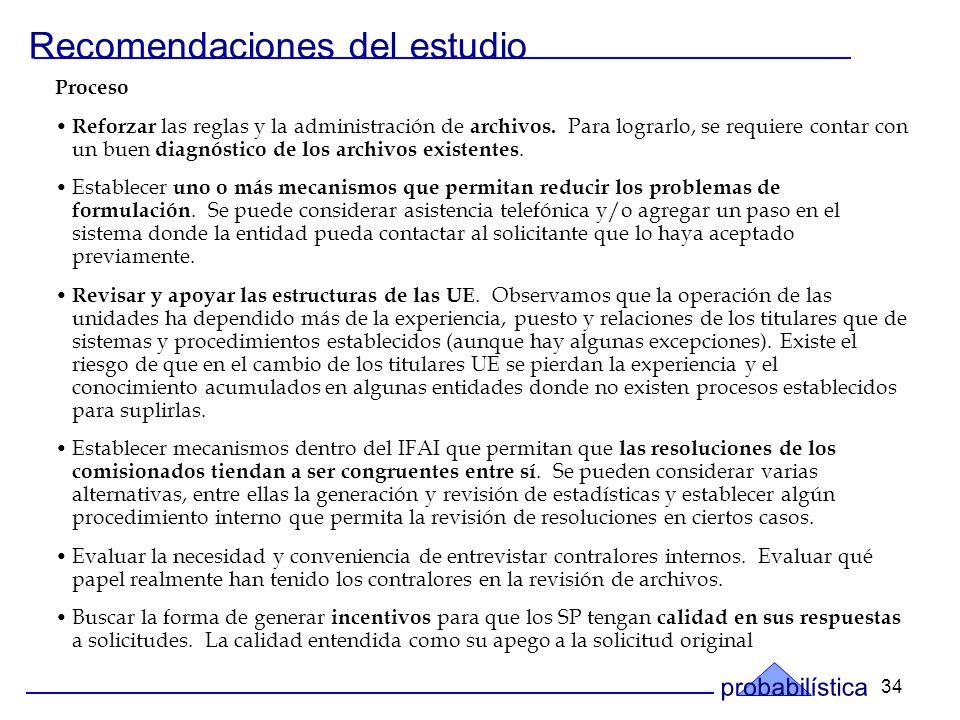 34 Recomendaciones del estudio Proceso Reforzar las reglas y la administración de archivos.