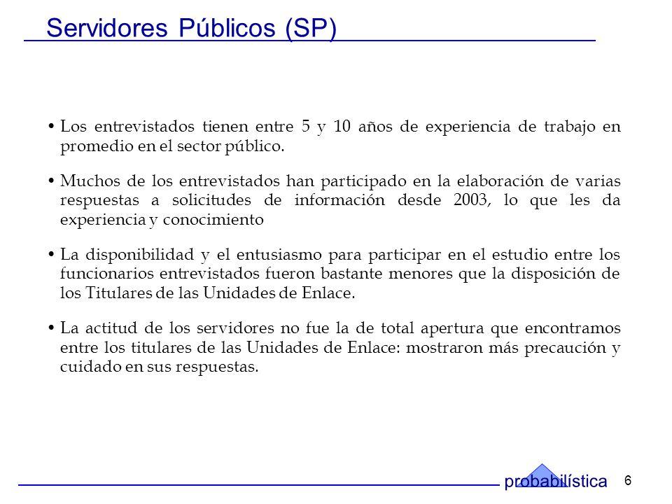 6 Los entrevistados tienen entre 5 y 10 años de experiencia de trabajo en promedio en el sector público.
