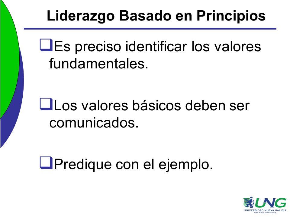 Liderazgo Basado en Principios Es preciso identificar los valores fundamentales. Los valores básicos deben ser comunicados. Predique con el ejemplo.