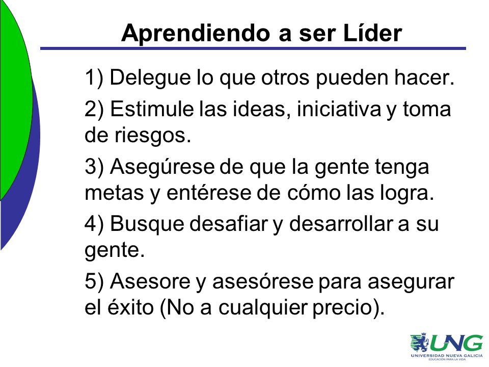 Aprendiendo a ser Líder 1) Delegue lo que otros pueden hacer. 2) Estimule las ideas, iniciativa y toma de riesgos. 3) Asegúrese de que la gente tenga
