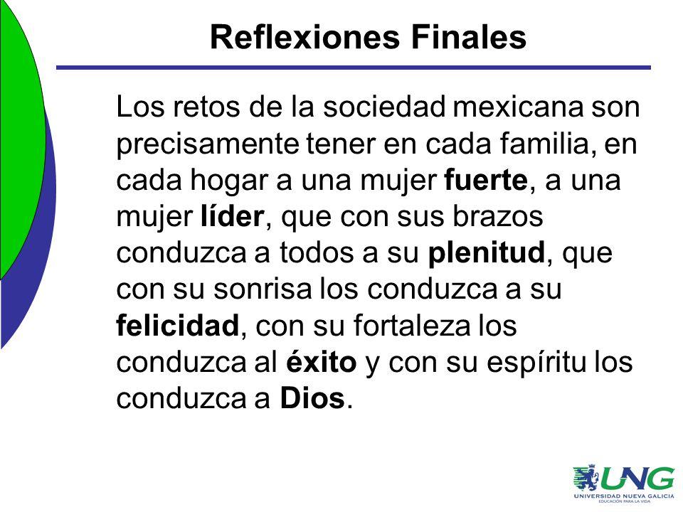Reflexiones Finales Los retos de la sociedad mexicana son precisamente tener en cada familia, en cada hogar a una mujer fuerte, a una mujer líder, que