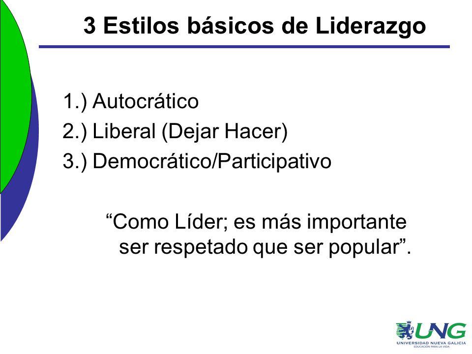 3 Estilos básicos de Liderazgo 1.) Autocrático 2.) Liberal (Dejar Hacer) 3.) Democrático/Participativo Como Líder; es más importante ser respetado que
