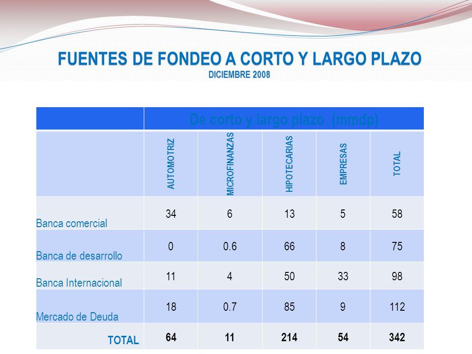 FUENTES DE FONDEO A CORTO Y LARGO PLAZO DICIEMBRE 2008 De corto y largo plazo (mmdp) AUTOMOTRIZ MICROFINANZAS HIPOTECARIAS EMPRESAS TOTAL Banca comerc