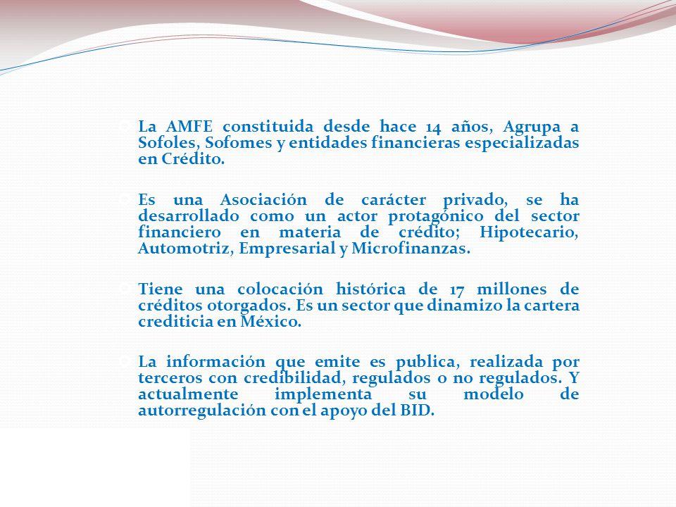 La AMFE constituida desde hace 14 años, Agrupa a Sofoles, Sofomes y entidades financieras especializadas en Crédito. Es una Asociación de carácter pri