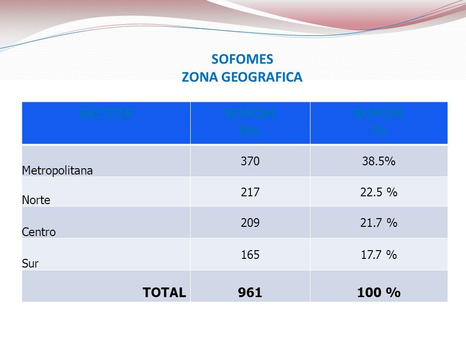 SOFOMES ZONA GEOGRAFICA SECTORSOFOM No. SOFOM % Metropolitana 37038.5% Norte 21722.5 % Centro 20921.7 % Sur 16517.7 % TOTAL961100 %