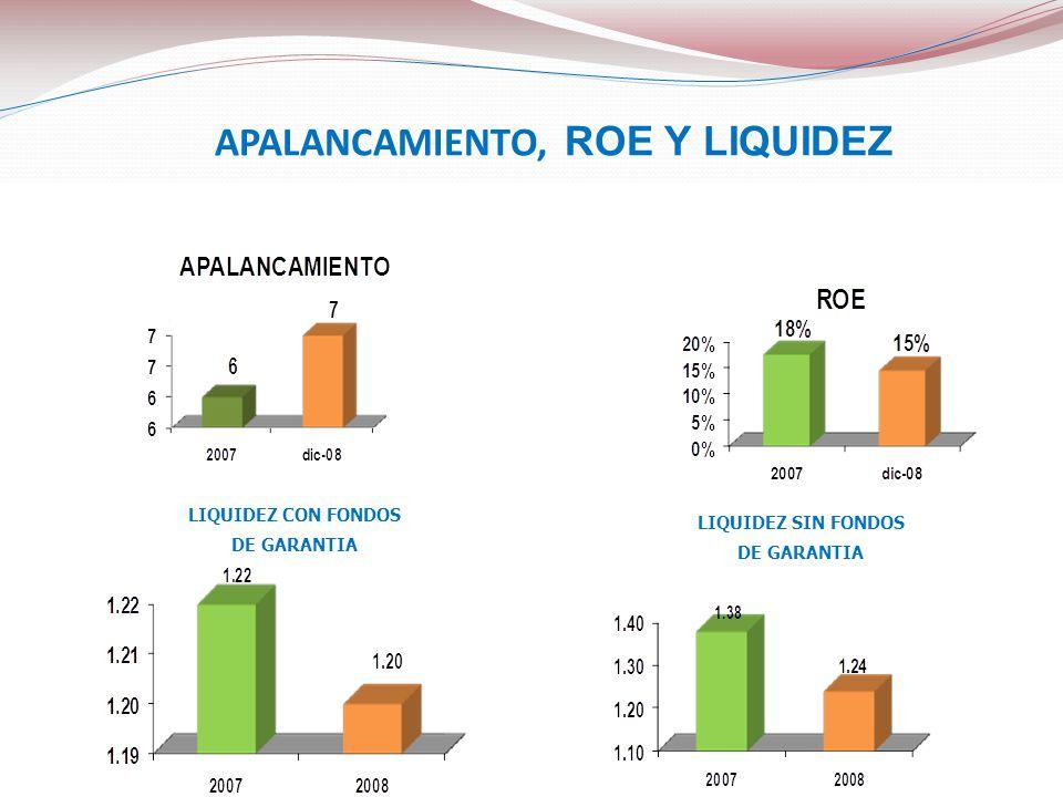 APALANCAMIENTO, ROE Y LIQUIDEZ LIQUIDEZ CON FONDOS DE GARANTIA LIQUIDEZ SIN FONDOS DE GARANTIA