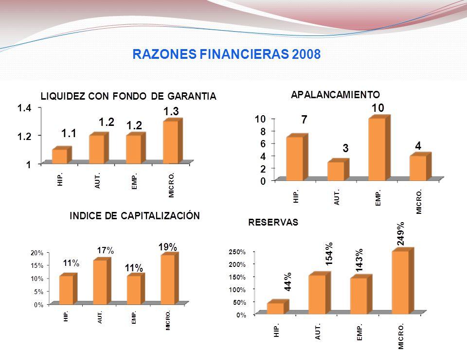 RAZONES FINANCIERAS 2008