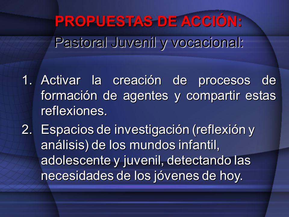 PROPUESTAS DE ACCIÓN: Pastoral Juvenil y vocacional: 1.Activar la creación de procesos de formación de agentes y compartir estas reflexiones. 2.Espaci