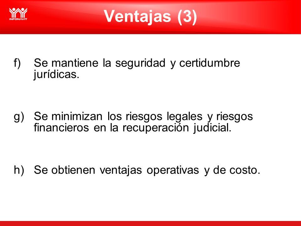 Ventajas (3) f)Se mantiene la seguridad y certidumbre jurídicas. g)Se minimizan los riesgos legales y riesgos financieros en la recuperación judicial.