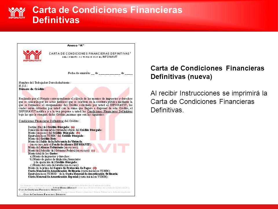 Carta de Condiciones Financieras Definitivas (nueva) Al recibir Instrucciones se imprimirá la Carta de Condiciones Financieras Definitivas. Carta de C