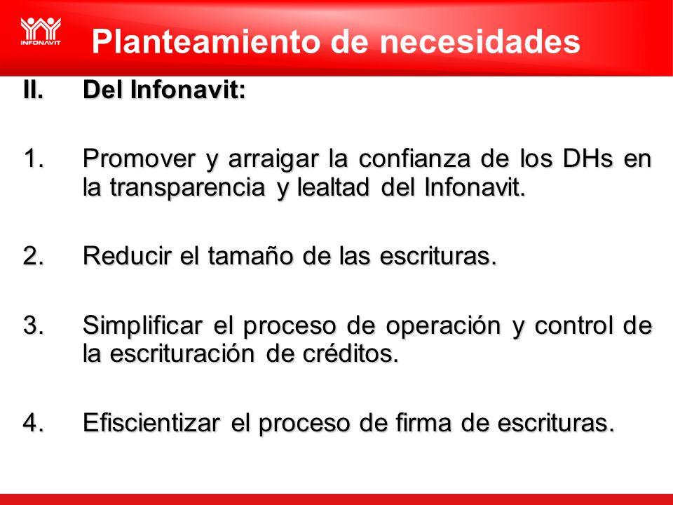 Planteamiento de necesidades II.Del Infonavit: 1.Promover y arraigar la confianza de los DHs en la transparencia y lealtad del Infonavit. 2.Reducir el