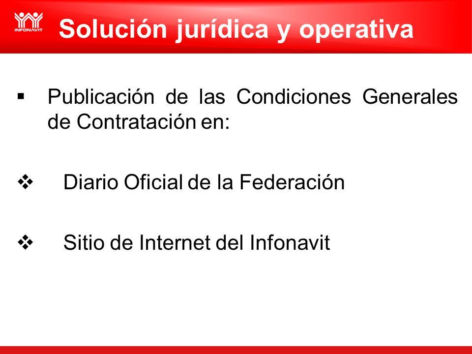 Solución jurídica y operativa Publicación de las Condiciones Generales de Contratación en: Diario Oficial de la Federación Sitio de Internet del Infon