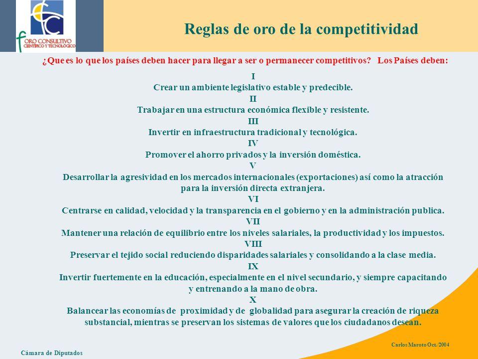 Cámara de Diputados Carlos Maroto Oct./2004 Reglas de oro de la competitividad ¿Que es lo que los países deben hacer para llegar a ser o permanecer competitivos.
