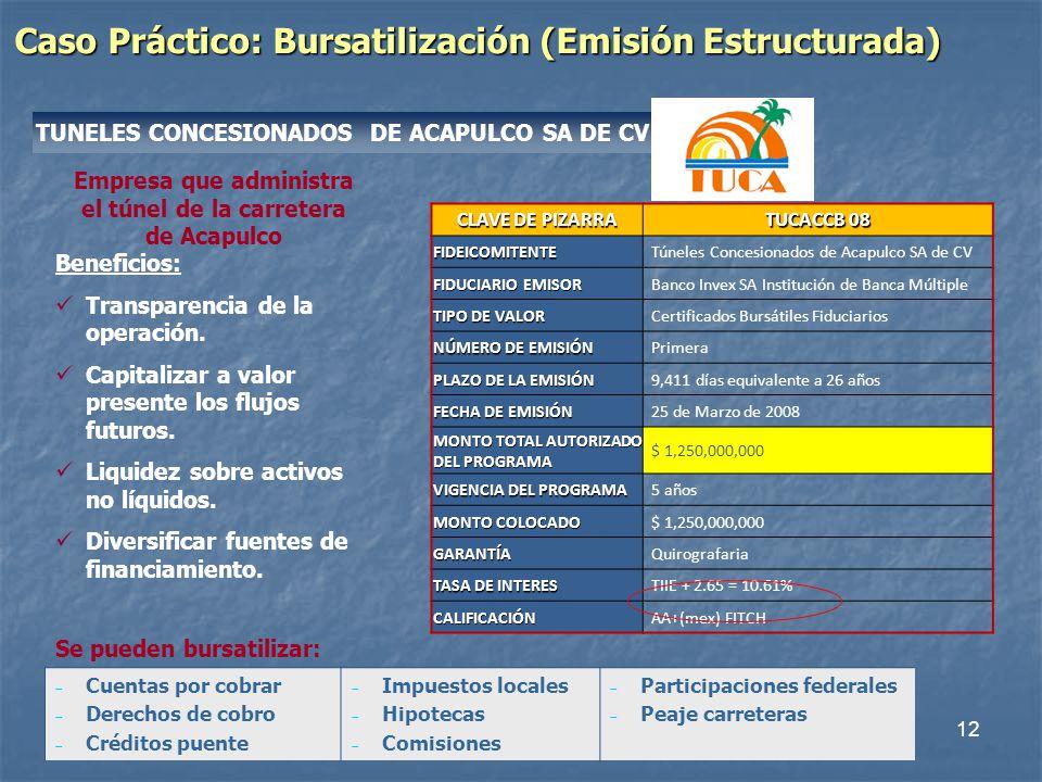 12 Empresa que administra el túnel de la carretera de Acapulco Caso Práctico: Bursatilización (Emisión Estructurada) TUNELES CONCESIONADOS DE ACAPULCO SA DE CV Beneficios: Transparencia de la operación.