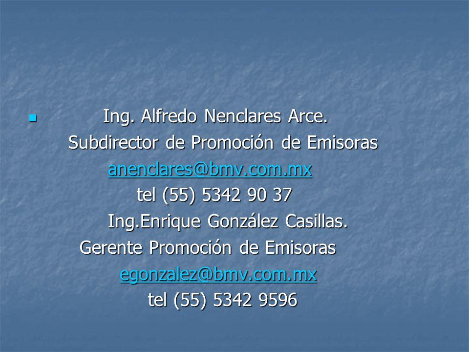 Ing.Alfredo Nenclares Arce. Ing. Alfredo Nenclares Arce.