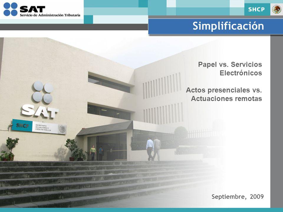 Simplificación Septiembre, 2009 Papel vs. Servicios Electrónicos Actos presenciales vs.