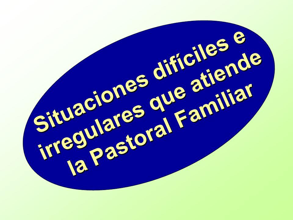 Situaciones difíciles e irregulares que atiende la Pastoral Familiar