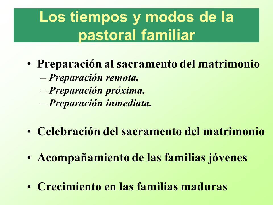 Los tiempos y modos de la pastoral familiar Preparación al sacramento del matrimonio –Preparación remota. –Preparación próxima. –Preparación inmediata