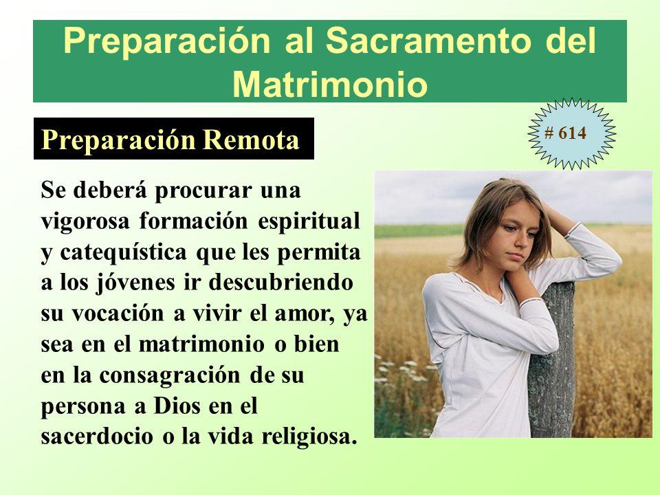 Preparación al Sacramento del Matrimonio Preparación Remota Se deberá procurar una vigorosa formación espiritual y catequística que les permita a los
