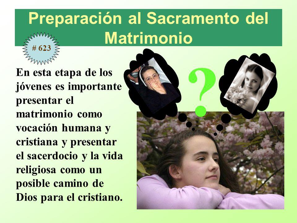 Preparación al Sacramento del Matrimonio En esta etapa de los jóvenes es importante presentar el matrimonio como vocación humana y cristiana y present