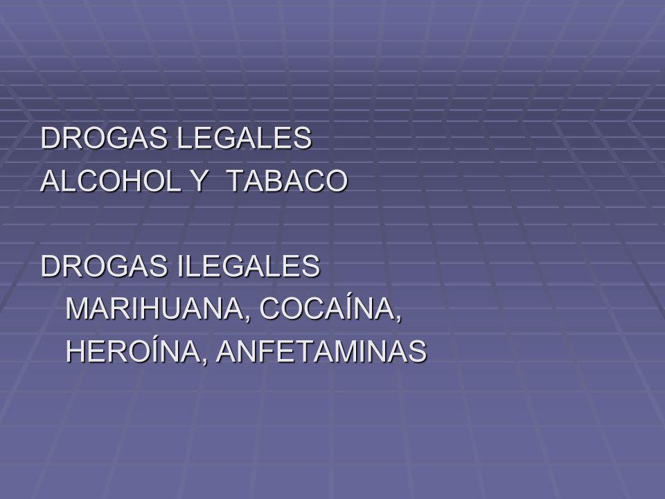 DROGAS LEGALES ALCOHOL Y TABACO DROGAS ILEGALES MARIHUANA, COCAÍNA, HEROÍNA, ANFETAMINAS