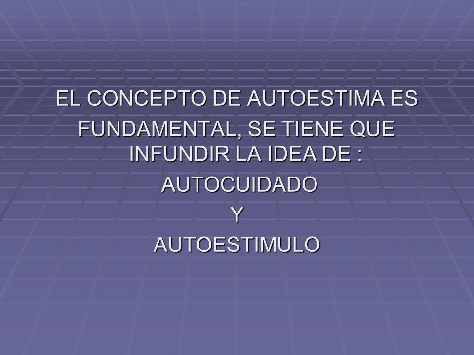 EL CONCEPTO DE AUTOESTIMA ES FUNDAMENTAL, SE TIENE QUE INFUNDIR LA IDEA DE : AUTOCUIDADO AUTOCUIDADOYAUTOESTIMULO